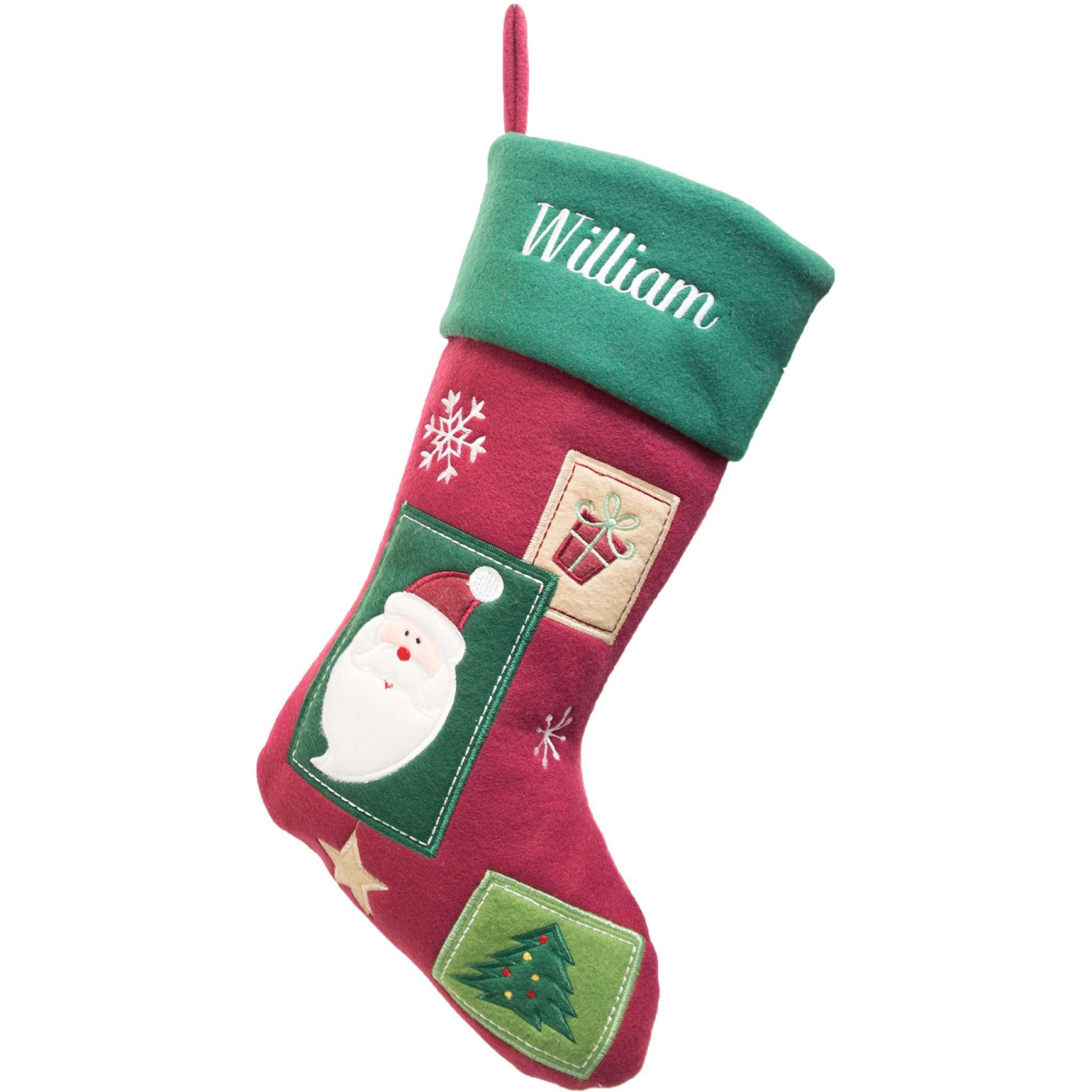 Weihnachtsstrumpf Premium, traditionelles Muster, dunkelrot