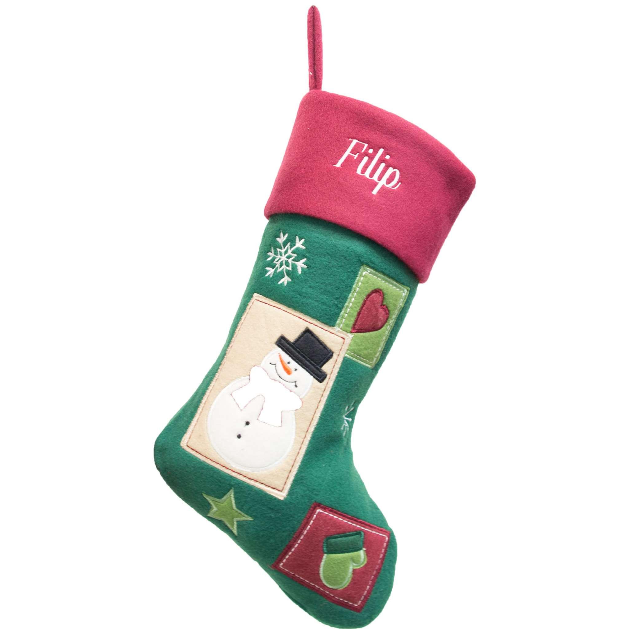 Weihnachtsstrumpf Premium, traditionelles Muster, grün
