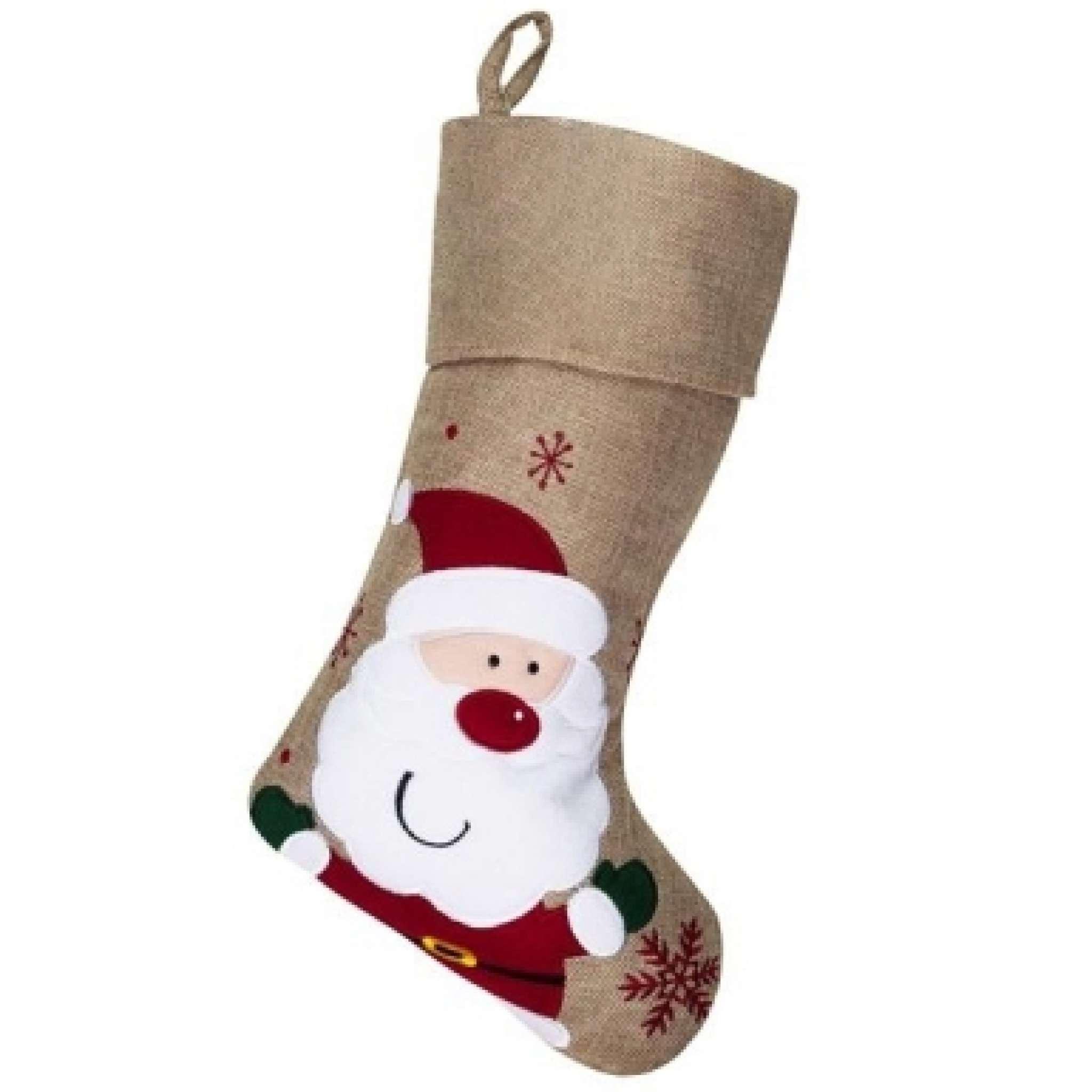 Weihnachtsstrumpf Premium mit Weihnachtsmann, naturfarben