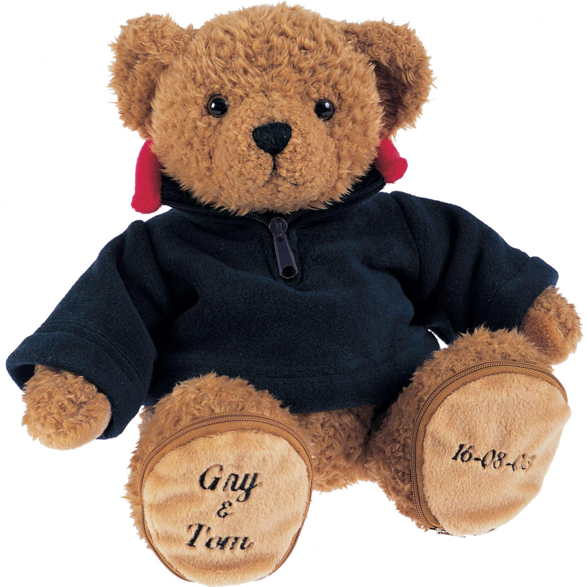 Teddybär mit blauem Fleecepullover