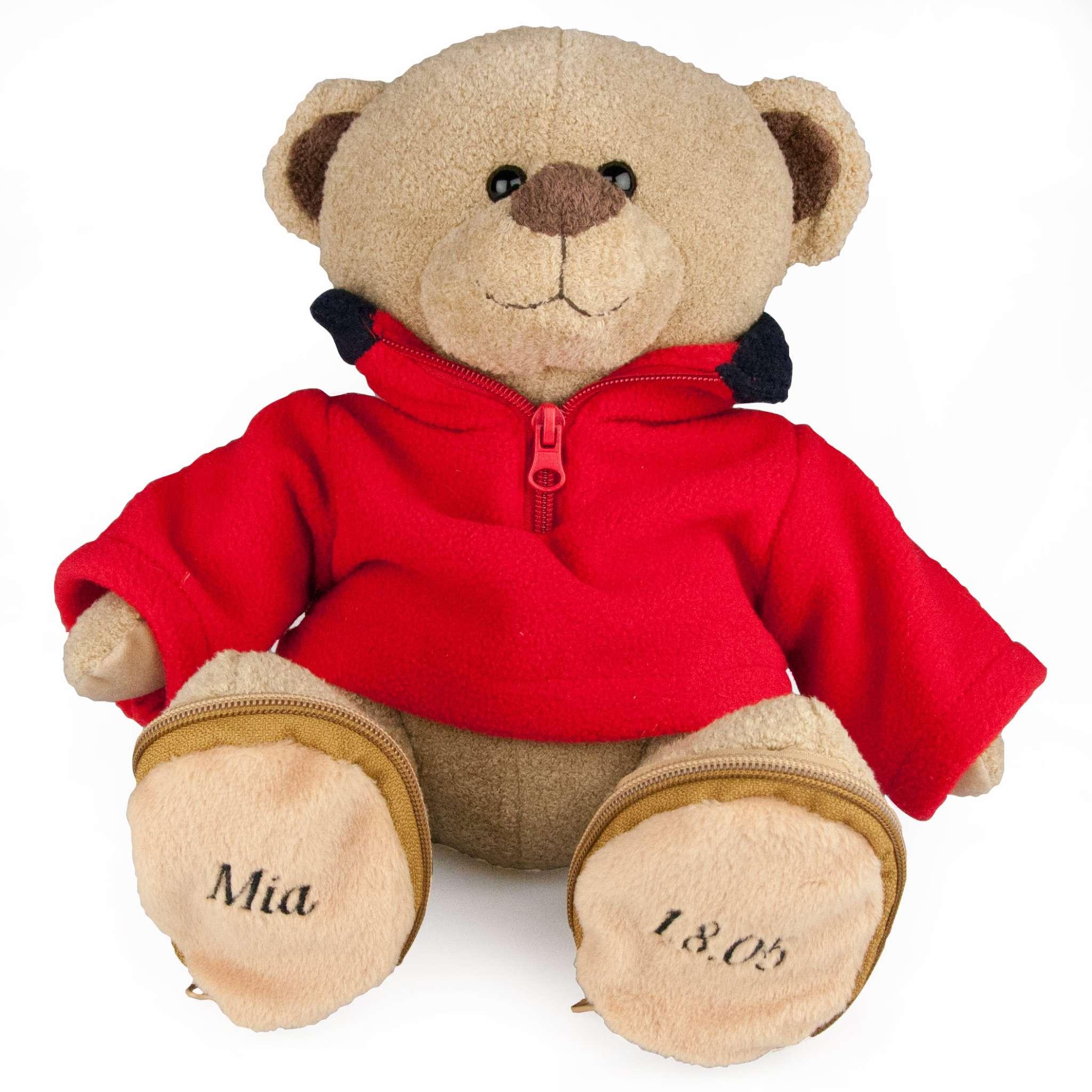 Teddybär mit rotem Fleecepullover