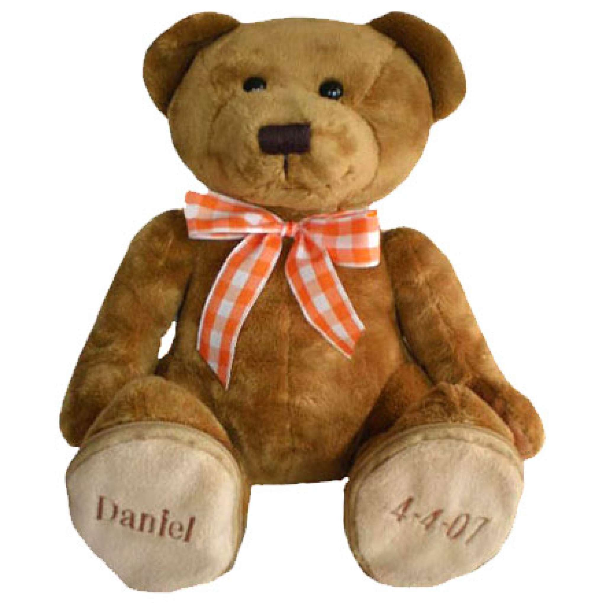 Teddybär mit orange-karierter Schleife